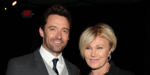 Hugh Jackman and Deborra-Lee Furness attend the DKNY 30th Anniversary fashion show during Mercedes-Benz Fashion Week on Monday, Feb. 10, 2014 in New York. (Photo by Omar Vega/Invision/AP)