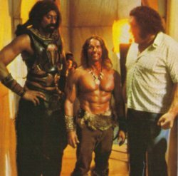 Arnold Schwarzenegger looks small standing next to Wilt Chamberlain & André The Giant.